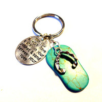Flip Flops Charm Keychain, Shell in Pocket Stamped Keychain, Key Ring, Turquoise Blue Sandal Pendant, Summer Purse Jewelry, Handbag Charm
