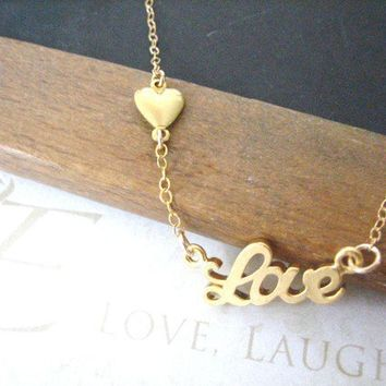 one true LOVE scripted love necklace gold by brideblu on Etsy