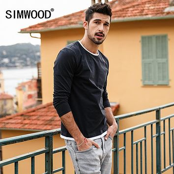 Spring New Fake Double Layered T-Shirt Men Long Sleeve Cotton Fashion Tops High Quality Slim Fit Tees