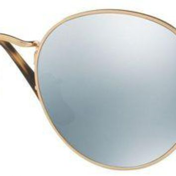 PEAP2Q ray ban round men s rb3447n 001 30 gold frame grey flash lens sunglasses