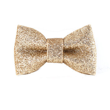 Cat or Small Dog Bow Tie - Gold Glitter