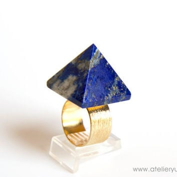 Lapis Lazuli Pyramid Ring, Blue Stone Statement Ring, Cocktail Ring