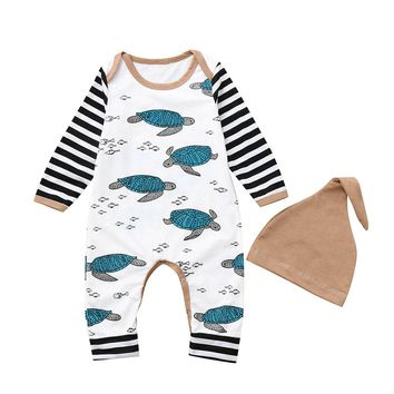 MUQGEW Hot sale Newborn Infant Baby Boy Girl Tortoise Striped Romper Jumpsuit Hat Clothes Set Dropshipping Baby Clothes