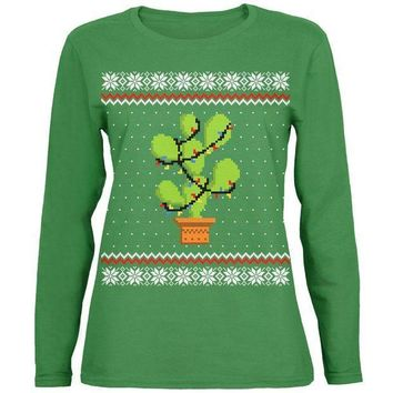 PEAPGQ9 Cactus Prickly Pear Tree Ugly Christmas Sweater Womens Long Sleeve T Shirt