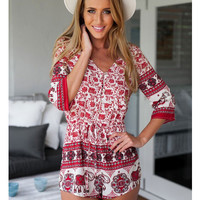 Red V-neck Floral Printed Jumpsuits Summer Casual Half Sleeve Rompers Siamese Shorts