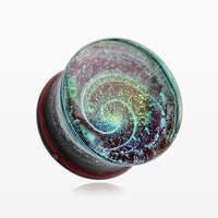 A Pair of Black Galaxy Milky Way Glass Double Flared Plug