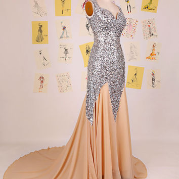 New Design 2015 Champagne Sweetheart Silver Sequin Mermaid Prom Dress/Open Back Mermaid Evening Gown/Long Mermaid Prom Dress DAF0073