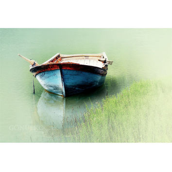 Wall decor -  boat, mint decor, pastel, lake, green decor, photography, Landscape photography, color, art, home decor, 10''x15 ''inch.