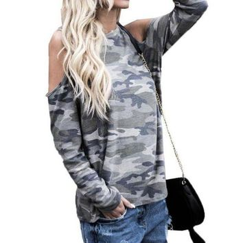 Womens Loose Casual BlouseTop Shirt Blusas 2018 Spring Summer O Neck Off Shoulder Long Sleeve Camouflage