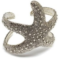 Silvertone Sea Lovers Starfish Cuff Bracelet: Jewelry: Amazon.com