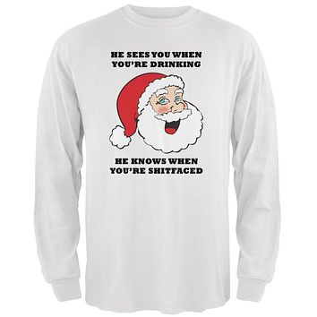 Christmas Santa He Sees You When You're Drinking Mens Long Sleeve T Shirt