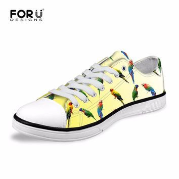 FORUDESIGNS Yellow Women Fashion Canvas Shoes Classic Low Style Parrot Printed Casual