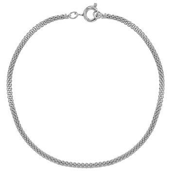 """Silver Plated Chain Cord Mesh Thin Classic Women Bracelet 7.5"""""""