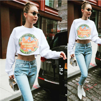 Crop Top Autumn Stylish Print Long Sleeve Hoodies [10793499719]