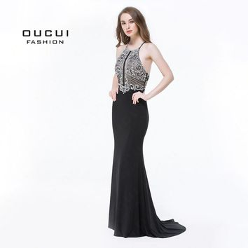 Handmade Beading Open Front Long Evening Dress Halter Back Cross Prom Dresses Party Crystal Mermaid OL102980