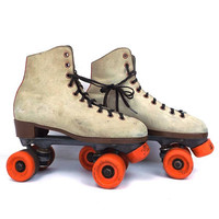 vintage 70s 80s roller skates size 6 men skating rink derby disco retro rental shoes laceups orange wheels costume party rollerskate working