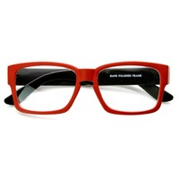 Two-Tone Colorful Square Frame Key Hole Bridge Clear Lens Glasses