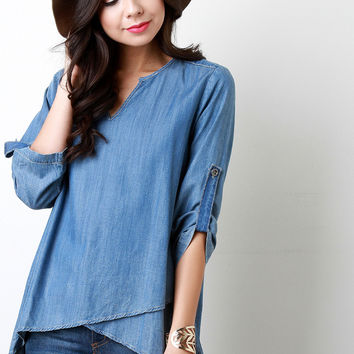 Western V-Neck Asymmetrical Overlap Top