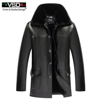 VSD 2018 Winter Business Casual Leather Jacket Men Thick Liner PU Suede faux fur collar Male leather jackets coats Outerwear B05