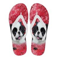 Japanese Chin Print Flip Flops For Women-Free Shipping