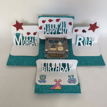 HAPPY TWINS BIRTHDAY Explosion BOx Gift Card w/MUSiC Box  & Pop-Up Names in White, Turquoise w/Red Stars Custom Order One Of A kind