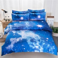 Home bedding Galaxy blue Andromeda meteor shower 3D Bedding Sets 4/3pcs Bed Sheet Quilt cover/ Duvet cover pillowcase