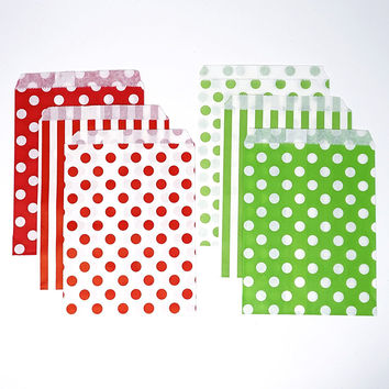 Red and Green Chevron, Dot, and Stripe Paper Treat Favor Bags 5x7 Gift Bags - 48 count