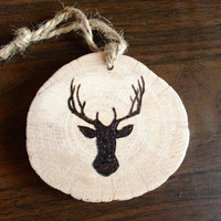 Rustic Wood Slice Deer Head Antlers Christmas Tree Ornament Decoration