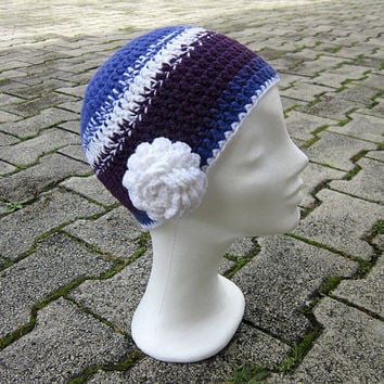 Hat with flower, Interchangeable flower, Chunky beanie, Winter women beanie, Girls beanie, Beanie hat, Purple hat crochet, Purple girls hat