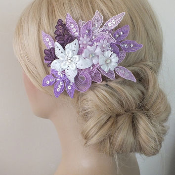 Bridal lace  Hair comb lilac purple ivory  lace floral wedding comb hair piece bride hair comb Handmade FREE SHIP