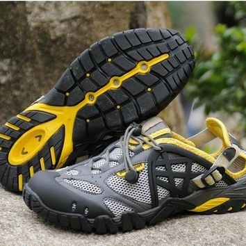 Breathable Shoes Mens/Womens Summer Leather Walking Shoes 2016 Waterproof Outdoor Beac