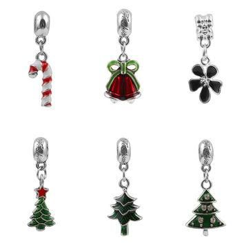 Charms For Bracelets Cute Enamel Pendant Christmas Tree Crutches Pendant Fits pandora