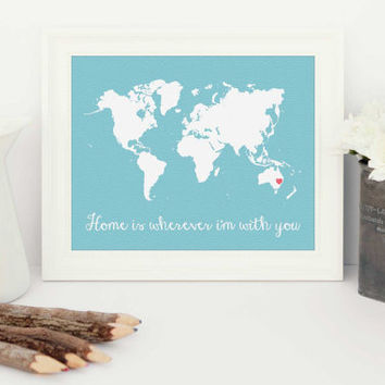home is wherever i'm with you, personalised gift for her, custom art, anniversary gift, house warming gift, personalised house warming, art