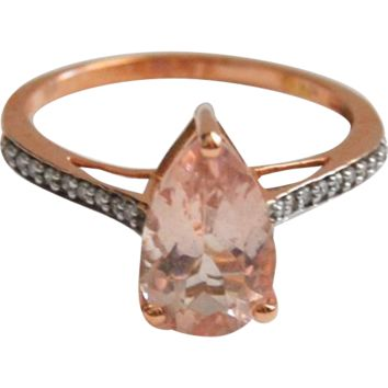 Pear-shape Morganite 10k Rose Gold Ring with Diamond Accents