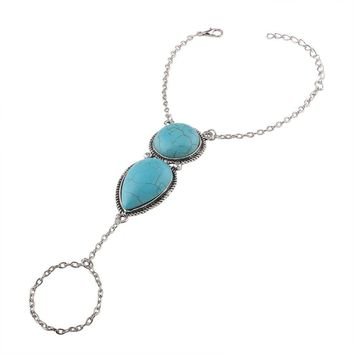 Bracelet Bangle Slave Chain Link Finger Ring Bracelet (Blue)