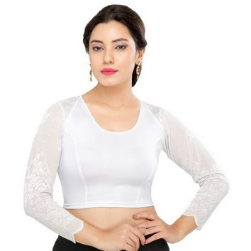 Saris and Things Silver Strech Lycra Stretchable Saree Blouse Crop Top A-30-silver