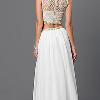 Lace Two Piece, Sequin Hearts Long Formal Gown