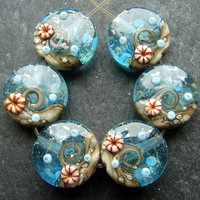 Lampwork Glass Beads 018 Sprees (6) Ocean Waters