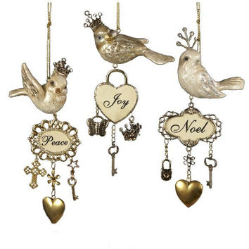 6 Bird Christmas Ornaments - Each Bird Wearing A Crown