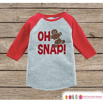 Kids Funny Christmas Shirt - Gingerbread Man Shirt or Onepiece - Oh Snap! - Kids Holiday Outfit for Girl or Boys, Baby, Toddler, Youth