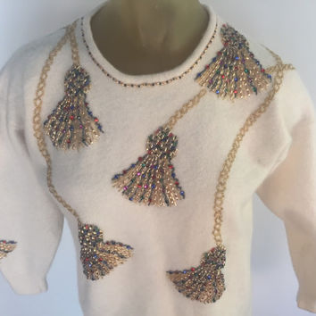 Vintage Beaded Sweater, Lambswool Angora Sweater, Cream Off White Wool Sweater, Beaded Tassel Designs, Tacky 80s Vintage Sweater Gold Beads