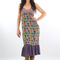 90s Grunge floral patchwork halter sun dress