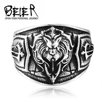 BEIER New Unique Lion Head Ring For Man Stainless Steel Man's Cool Animal Ring BR8-300