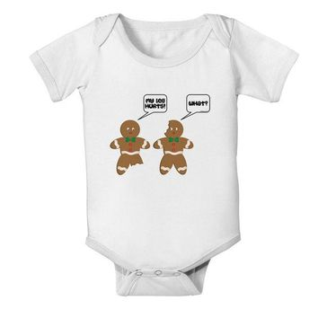 DCKL9 Funny Gingerbread Conversation Christmas Baby Romper Bodysuit