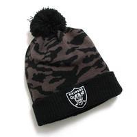 Oakland Raiders M Twenty Nine Cuff Knit Pom Beanie Black