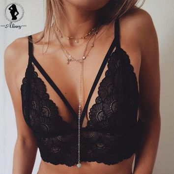 ALINRY Sexy Women bras Black Lace bralette Adjustable shoulder strap Top Hollow out Lingerie Seamless underwear plus size