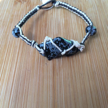 Snowflake Obsidian Hemp Wrapped Bracelet - Tan and Black Natural Hemp Cage Macrame Healing Crystal Chunky Statement Bracelet