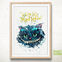 Cheshire Cat, Alice in Wonderland - Watercolor, Art Print, Home Wall decor, Watercolor Print, Disney Princess Poster
