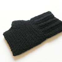 No Frill Fingerless Gloves - Black - Made to Order