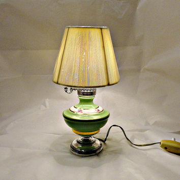 Italian 800 Silver  & Pottery Electric Lamp circa 1940's  Hallmarked